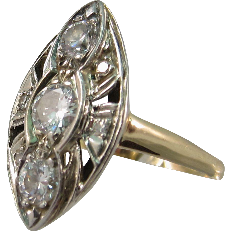 Vintage 1940s 14k Yellow Gold & Diamonds Marquise Navette Cocktail Ring 0.75 Carats