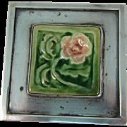 Modernist Sterling Silver & Square Ceramic Tile Flower Brooch Pin