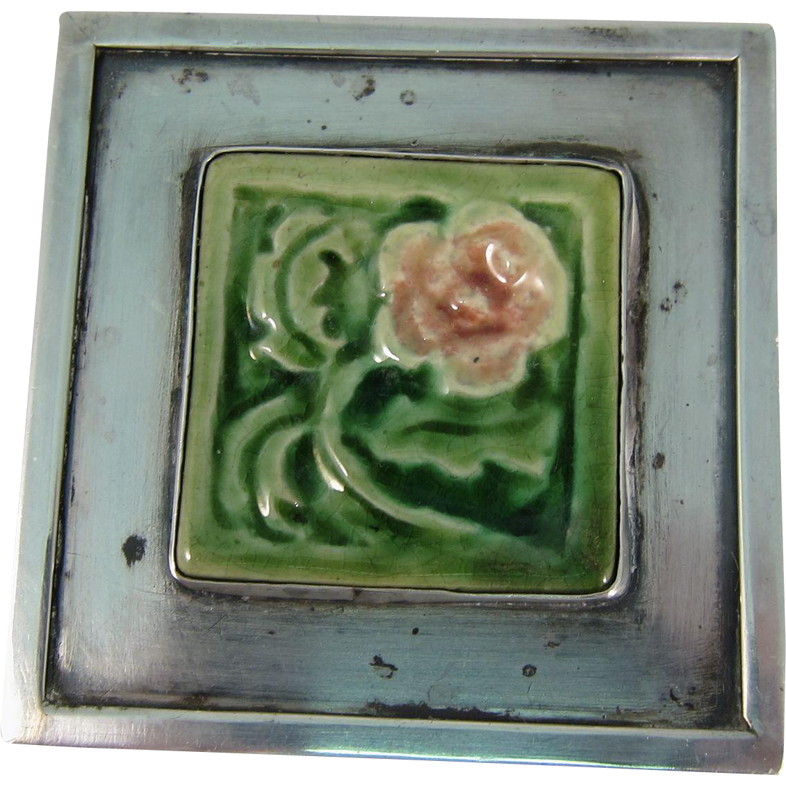 Modernist Sterling Silver & Square Ceramic Tile Flower Brooch Pin