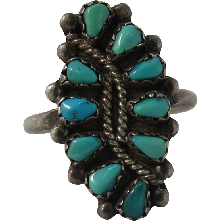 Vintage Sterling Silver Native American Zuni Turquoise Ring