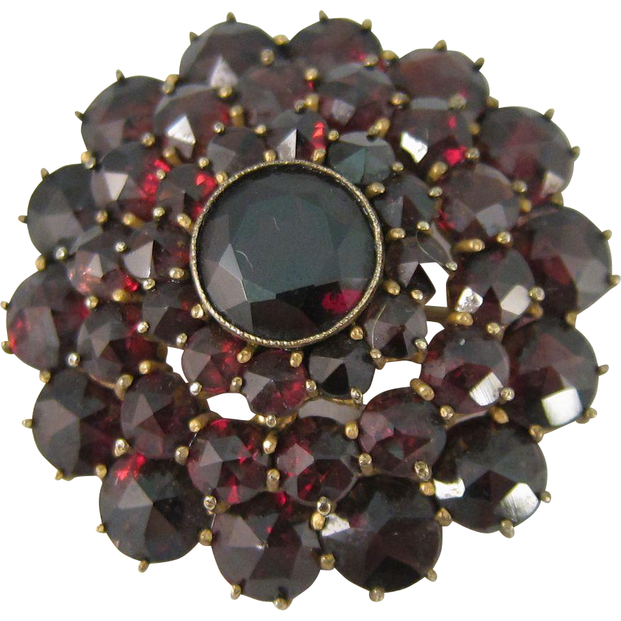 Vintage Bohemian Gilt Silver Rose Cut Garnets Pin Brooch