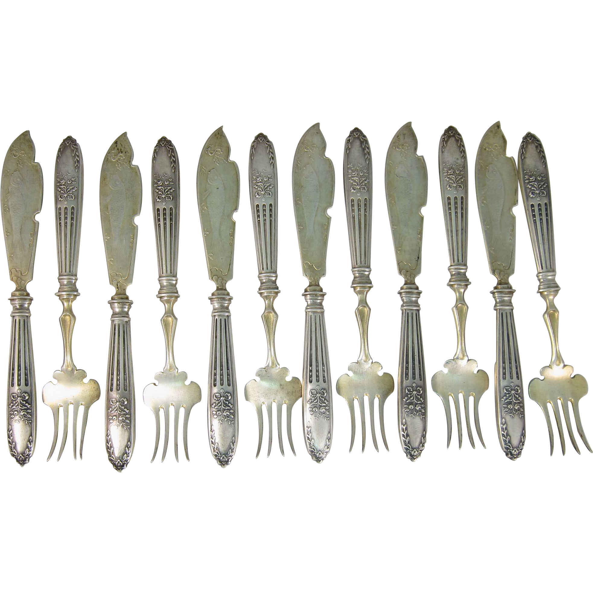 Rare Antique Set of 12 Russian / Polish Solid 84 Silver Fish Knives & Forks Warsaw Poland Circa 1910s