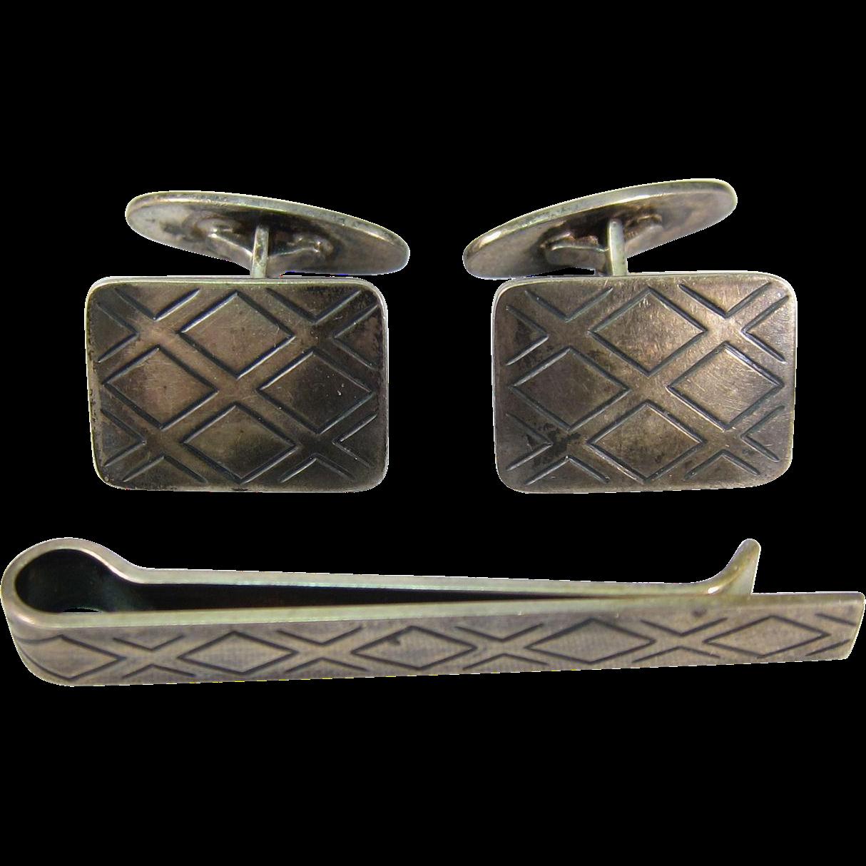 Vintage Sterling Silver Tie Bar & Cufflinks Set Denmark 925S by Niels Erik From 1960s