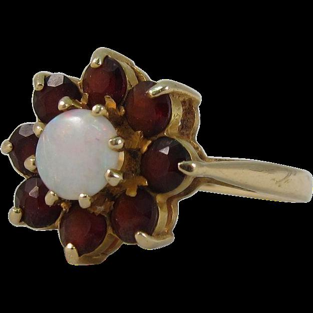 Vintage 14k Yellow Gold Garnets & Opal Rosette Ring