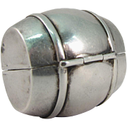 Vintage 925 Sterling Silver Snuff Pill Box in Barrel Keg Form