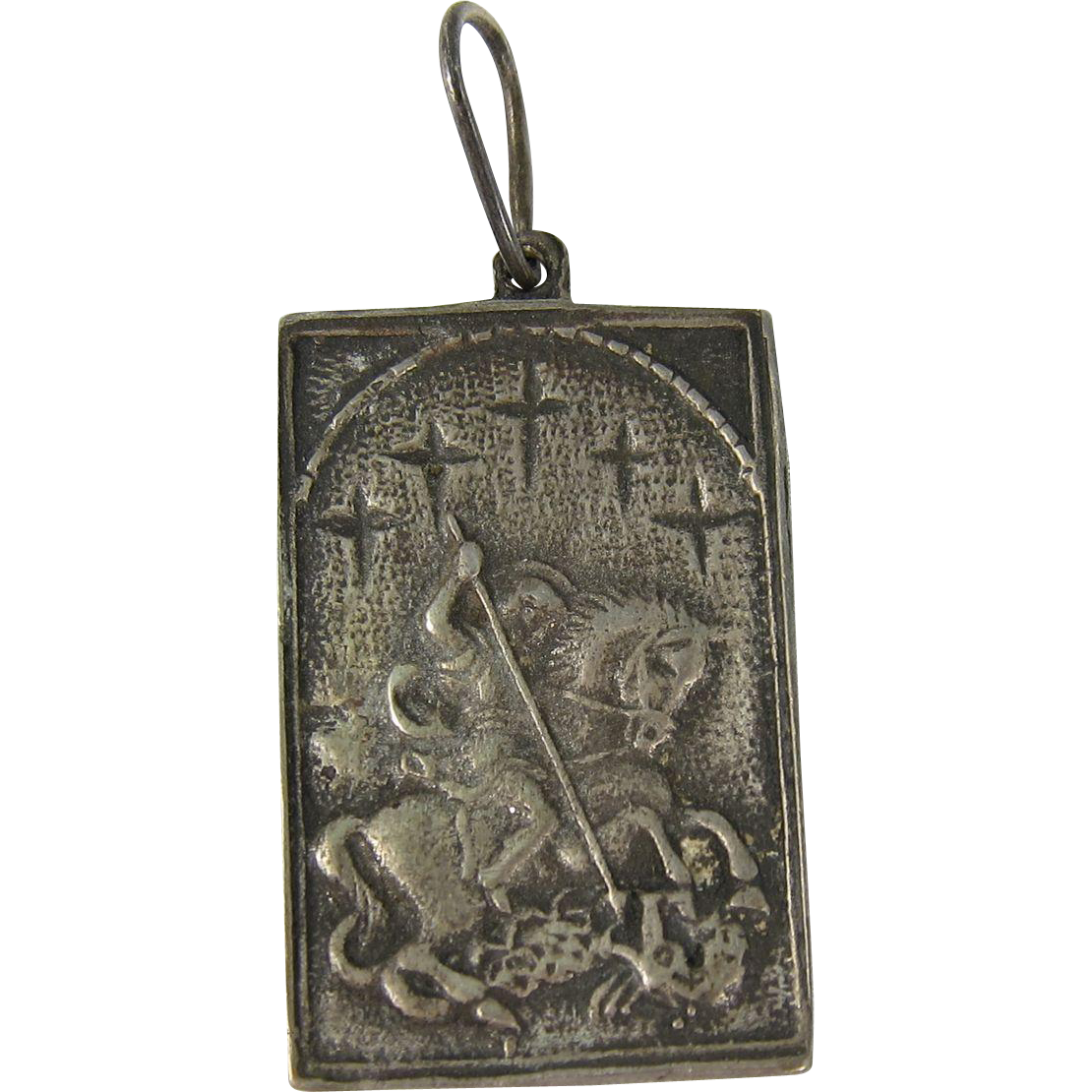 Russian Silver Pendant St. George Slaying the Dragon c. 1890s