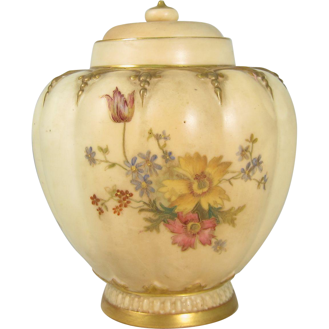 Antique Royal Worcester Lobed Jar Shape 1312 England 1889