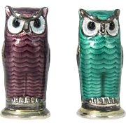 Vintage Sterling Silver & Guilloche Enamel Green and Purple Owl Salt Shakers by David Andersen Norway