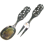 Norwegian 830S Silver Salad Serving Set by R. Elvesaeter Norway