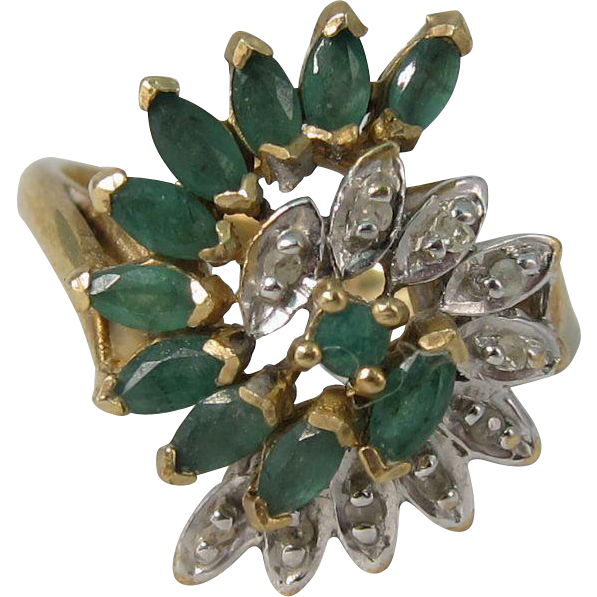 Vintage 10k Yellow Gold Emeralds & Diamonds Cocktail Ring