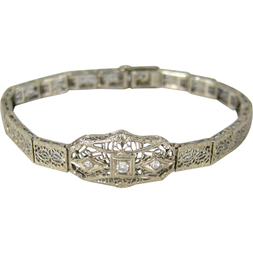 Authentic Art Deco 14k White Filigree Gold & Diamonds Bracelet