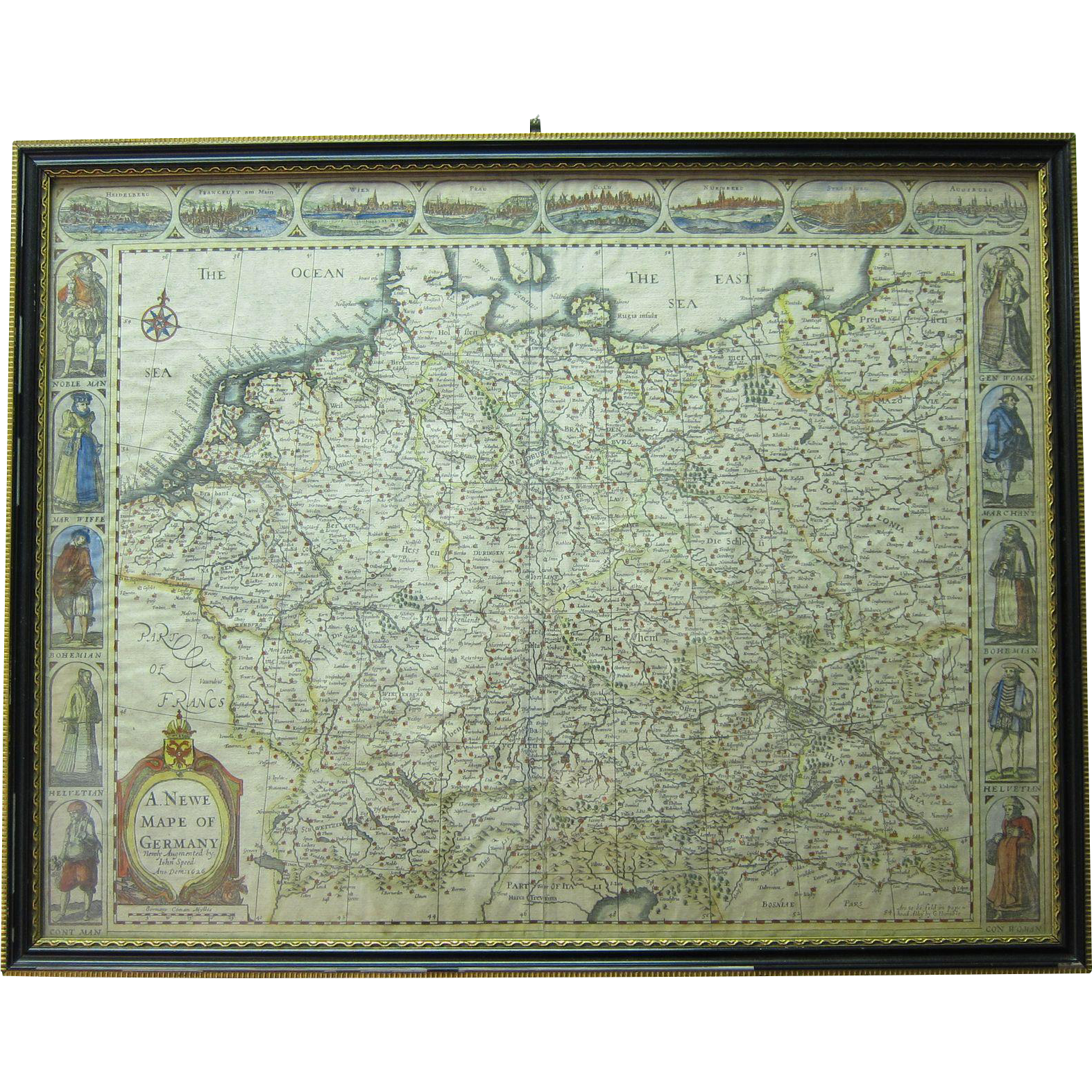 Antique Copperplate Engraving Map of Germany by John Speed Circa 1627-1676