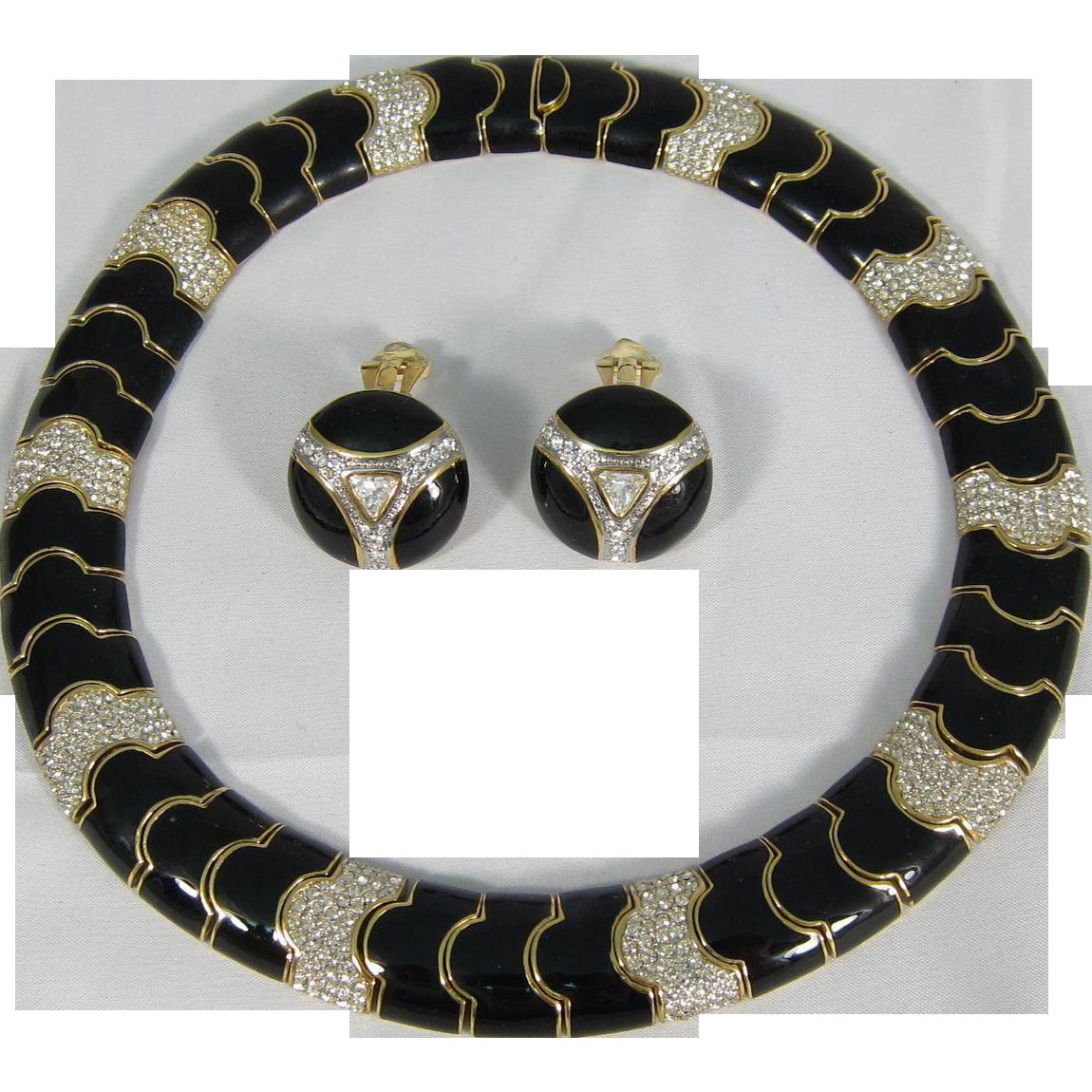 Vintage Ciner Black Enamel Rhinestones Necklace & Matching Earrings