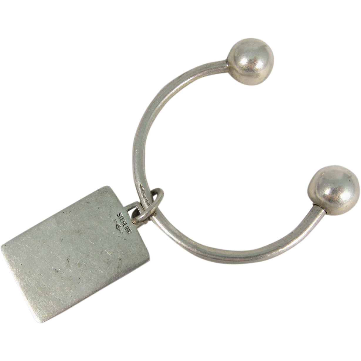 Vintage Sterling Silver Key Rig with Charm