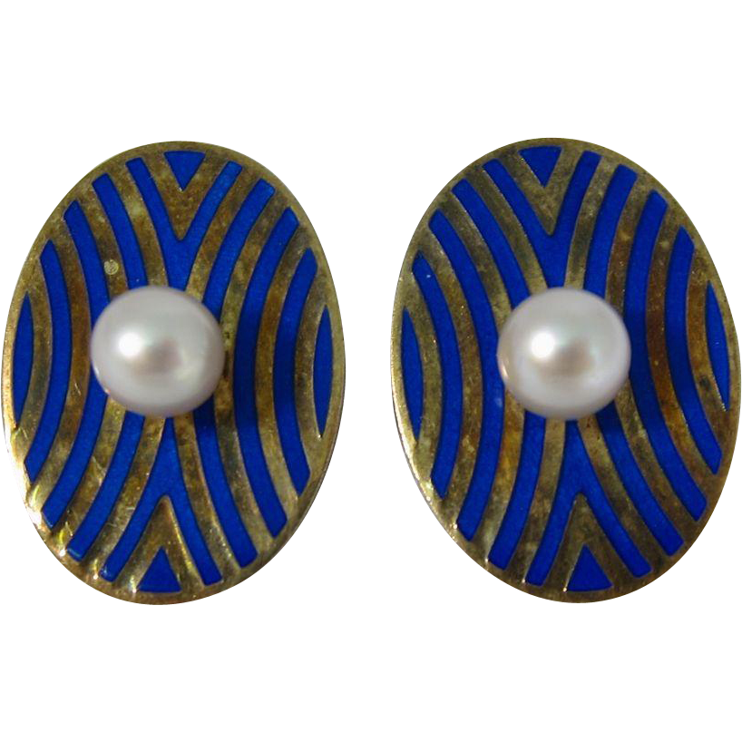 Vintage Sterling Gilt Sterling Silver & Blue Enamel Clip-On Earrings