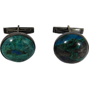 Vintage Israeli 930 Sterling Silver & Malachite Cufflinks by Azurit Israel