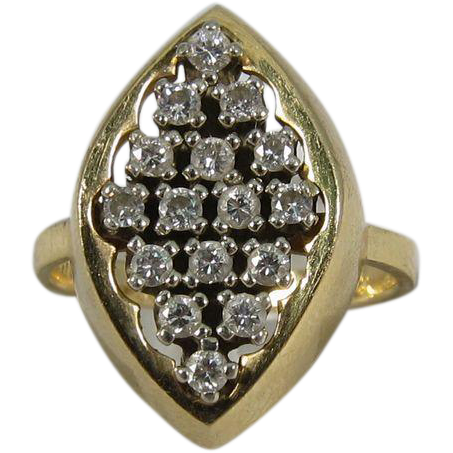 Vitntage 14k Yellow Gold & Round Diamonds Marquee Shaped Ring