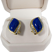 Fantastic 14k Yellow Gold Blue Lapis & Diamonds Pierced Earrings