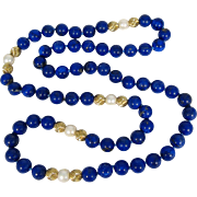 "Gorgeous Royal Blue Lapis Lazuli Necklace Large 10 mm Beads 30"" Long 14k Gold"