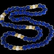 "Gorgeous Royal Blue Lapis Lazuli Necklace Large 10 mm Beads 30"" Long 14k Gold"