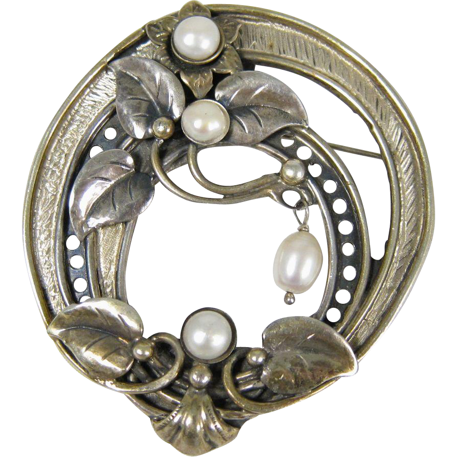 Signed Sterling Silver & Cultured Pearls Large Flower Pin Brooch Pendant 2.75""