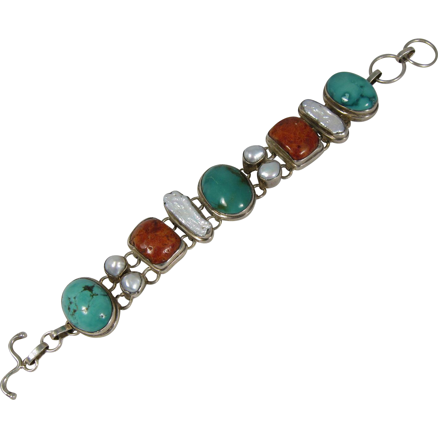 Vintage Sterling Silver Mother of Pearl Turquoise & Coral Bracelet
