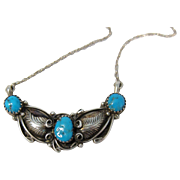 Vintage 1970s  Navajo Necklace Sterling Silver & Turquoise by Robert Becenti