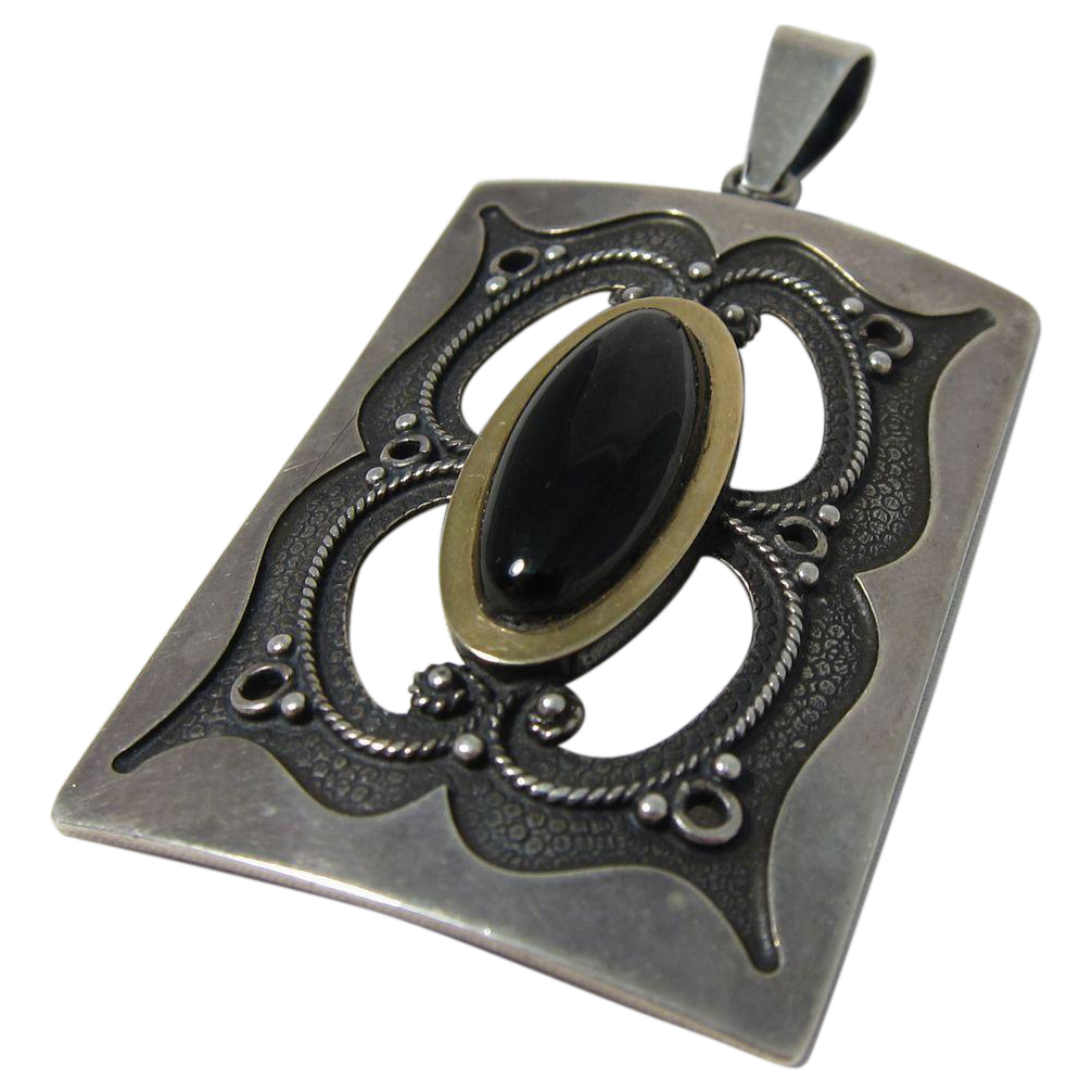 Vintage Modernist Sterling Silver and Black Onyx Pendant
