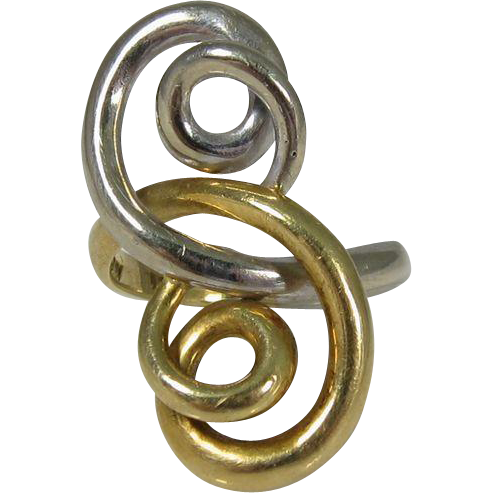 Vintage 18k Yellow & White Gold Swirl Ring