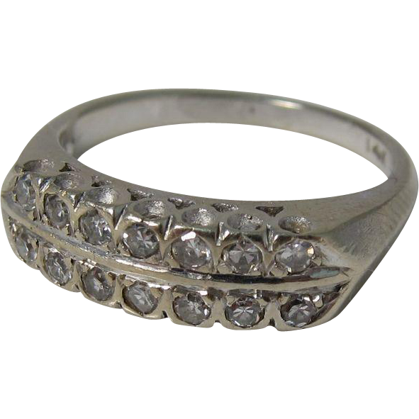 Vintage 14k White Gold & Diamonds Ring Wedding Band