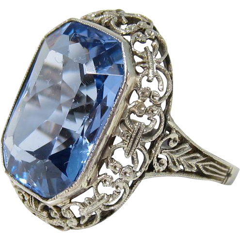 Gorgeous Art Deco 18k White Gold & Large 10 Carat Blue Topaz Glass Stone Ring Size 5