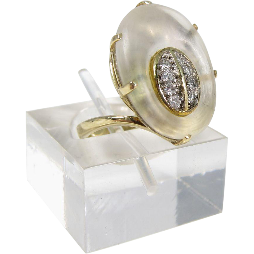 Modernist Design 14k Yellow Gold Diamonds and Frosted Glass Ring