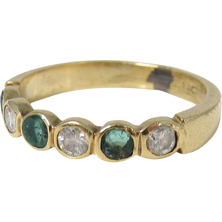 Vintage 14k Diamonds & Emeralds Ring Wedding Band