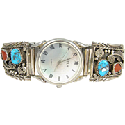 Vintage Sterling Silver Native American Turquoise & Coral Watch Tips RF