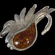 Vintage Sterling Silver & Amber Large Swan Brooch Pin