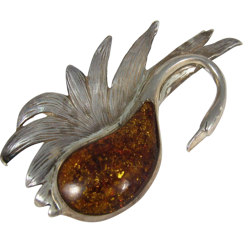 Vintage Sterling Silver & Amber Large Swan Brooch Pin