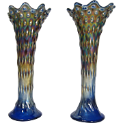 Pair of Tree Trunk Northwood Carnival Glass Blue Vases