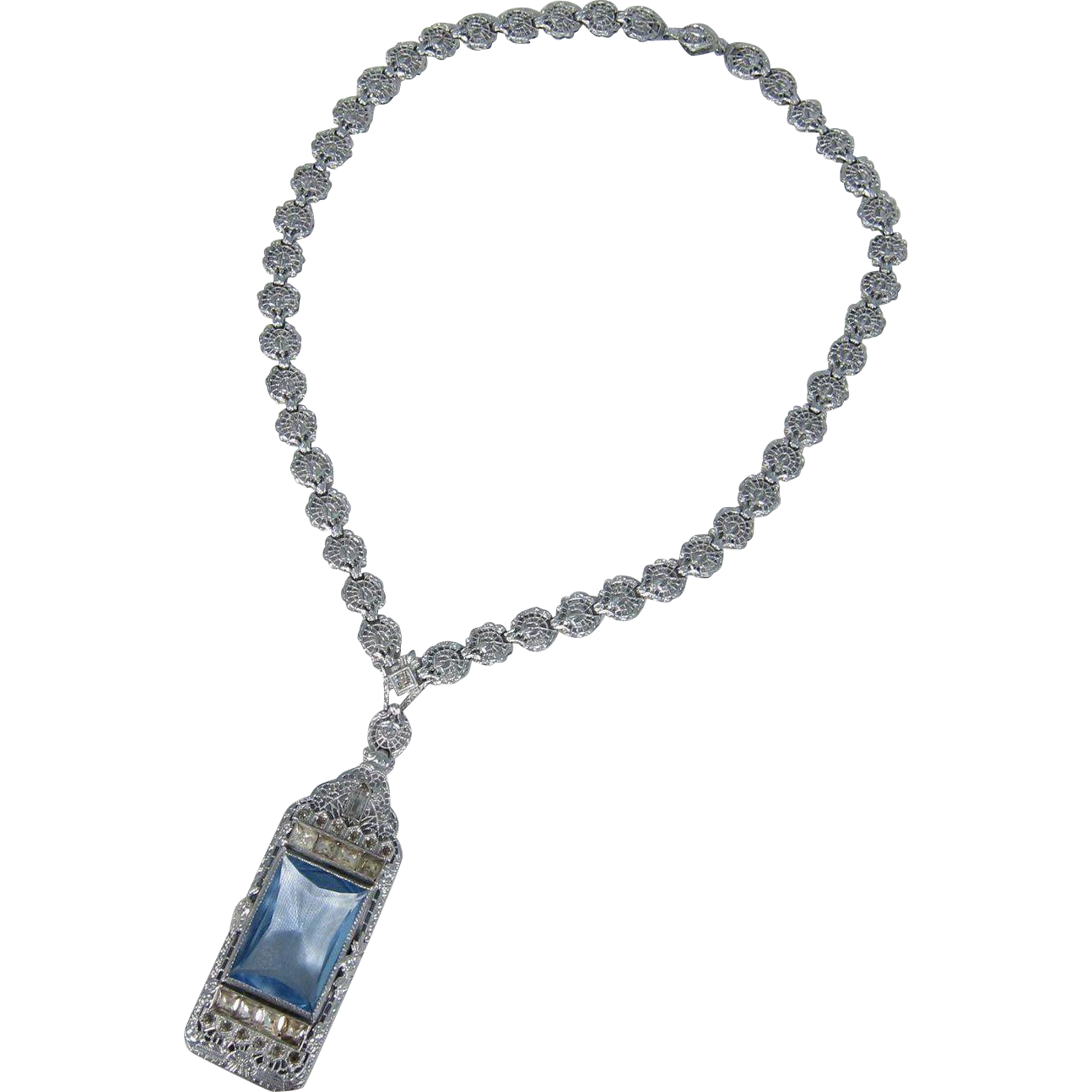 Beautiful Art Deco Rhodium Necklace w/ Blue Aquamarine Glass Large Pendant 1920s