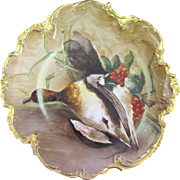 French Limoges Hand Painted Duck Game Charger Tray France 1910s - 1920s