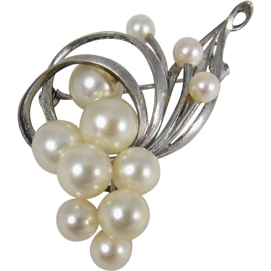 Vintage 1960s Mikimoto Sterling Silver Cultured Pearls Pin / Brooch