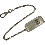 Vintage Sterling Silver Hickok Watch Fob with Clip Beltogram