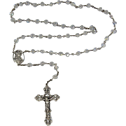 Vintage Italian 925 Sterling Silver & Clear Crystals Rosary Italy