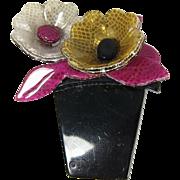 Vintage Lea Stein Flower Pot Brooch Pin Paris France