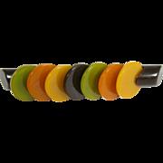 Art Deco Bakelite Bar Multicolor Disc Pin Brooch