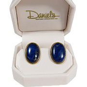 Vintage Lapis Lazuli 14K Yellow Gold & Oval Cabochon Earrings
