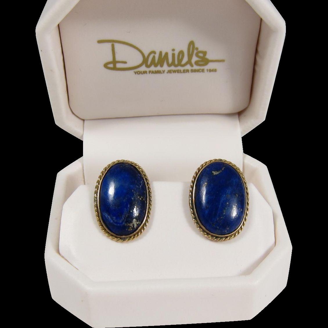 Vintage Lapis Lazuli 14K Yellow Gold & Oval Cabochon Earrings