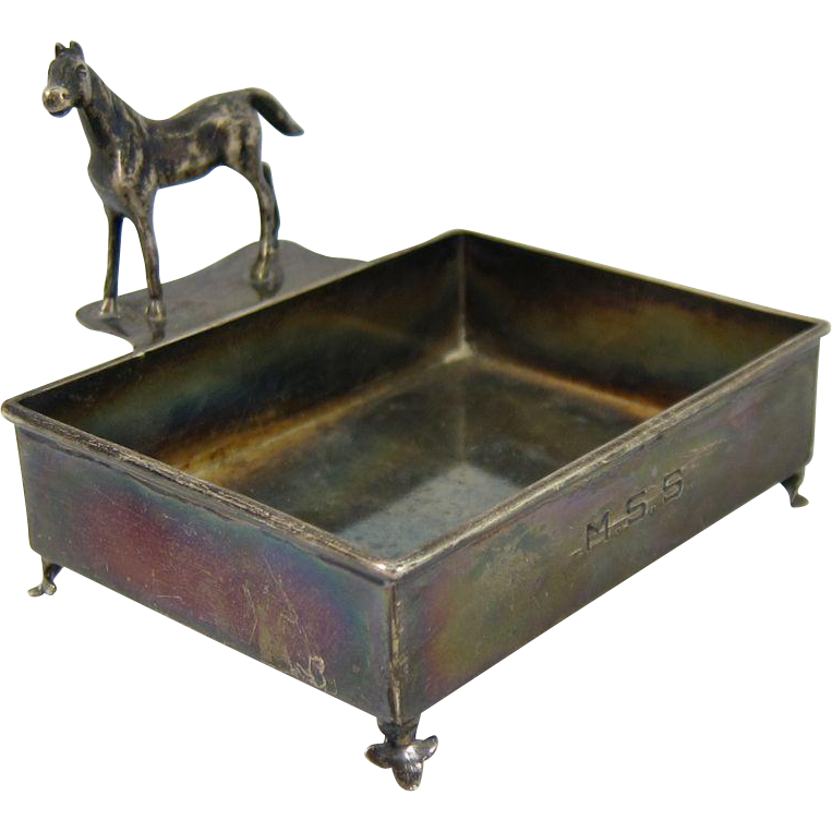 Vintage Solid Sterling Silver Horse Rectangular Dish Udall & Ballou