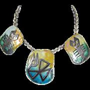Modernist 925 Sterling Silver & Enamel Necklace by Grazilla Laffi Peru