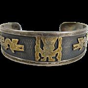 Vintage Peruvian 925 Sterling Silver & 18k Gold Cuff Bracelet Peru