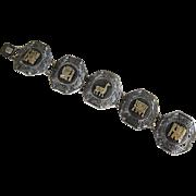 Vintage 18K & Sterling Silver Link Peruvian Bracelet